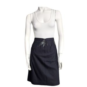 Vintage pencil skirt with leather detail